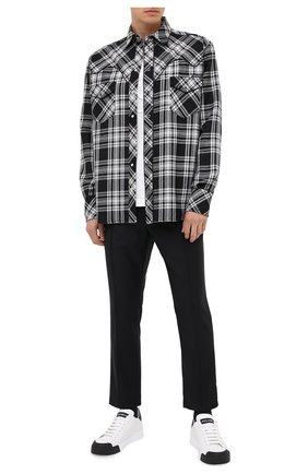 Мужская шерстяная рубашка DOLCE & GABBANA черно-белого цвета, арт. G5HY2T/FQMG7 | Фото 2