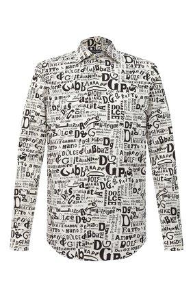 Мужская хлопковая рубашка DOLCE & GABBANA черно-белого цвета, арт. G5GE6T/HS5H8 | Фото 1