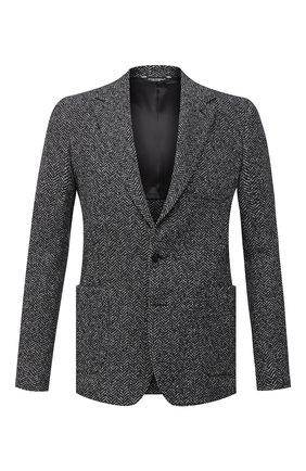 Мужской пиджак из шерсти и хлопка DOLCE & GABBANA темно-серого цвета, арт. G20W7T/FC7AR | Фото 1