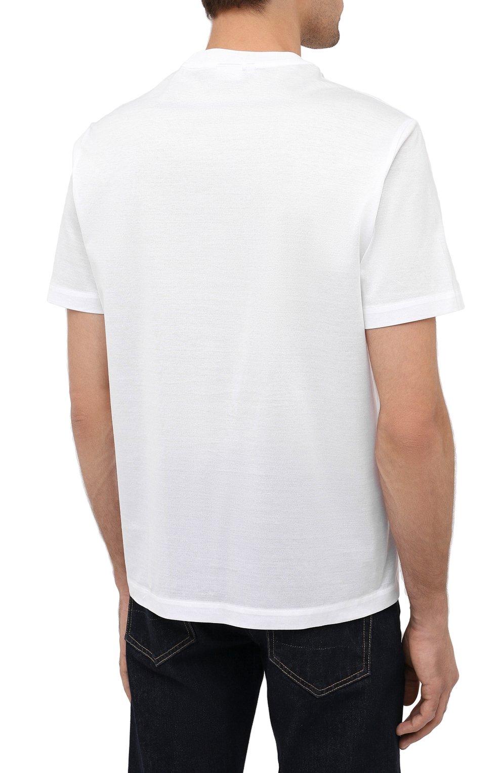Мужская хлопковая футболка BRIONI белого цвета, арт. UJCA0L/PZ600 | Фото 4