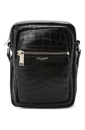 Мужская кожаная сумка sid SAINT LAURENT черного цвета, арт. 581700/DZE0E | Фото 1