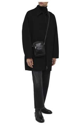 Мужская кожаная сумка sid SAINT LAURENT черного цвета, арт. 581700/DZE0E | Фото 2