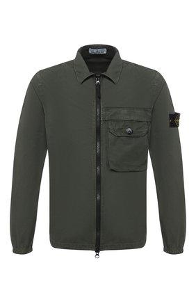 Мужская хлопковая рубашка STONE ISLAND зеленого цвета, арт. 7315107WN | Фото 1