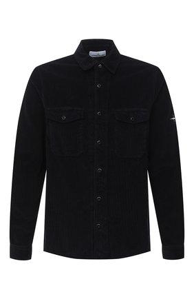 Мужская хлопковая рубашка STONE ISLAND темно-синего цвета, арт. 731512111 | Фото 1