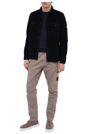 Мужская хлопковая рубашка STONE ISLAND темно-синего цвета, арт. 731512111 | Фото 2