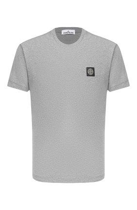 Мужская хлопковая футболка STONE ISLAND светло-серого цвета, арт. 731524113 | Фото 1
