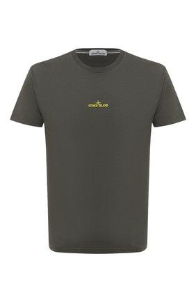 Мужская хлопковая футболка STONE ISLAND зеленого цвета, арт. 73152NS81 | Фото 1