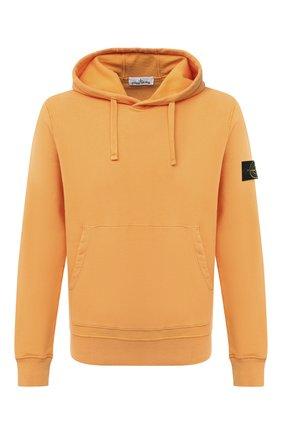 Мужской хлопковое худи STONE ISLAND оранжевого цвета, арт. 731564120 | Фото 1