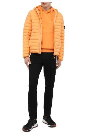 Мужской хлопковое худи STONE ISLAND оранжевого цвета, арт. 731564120 | Фото 2