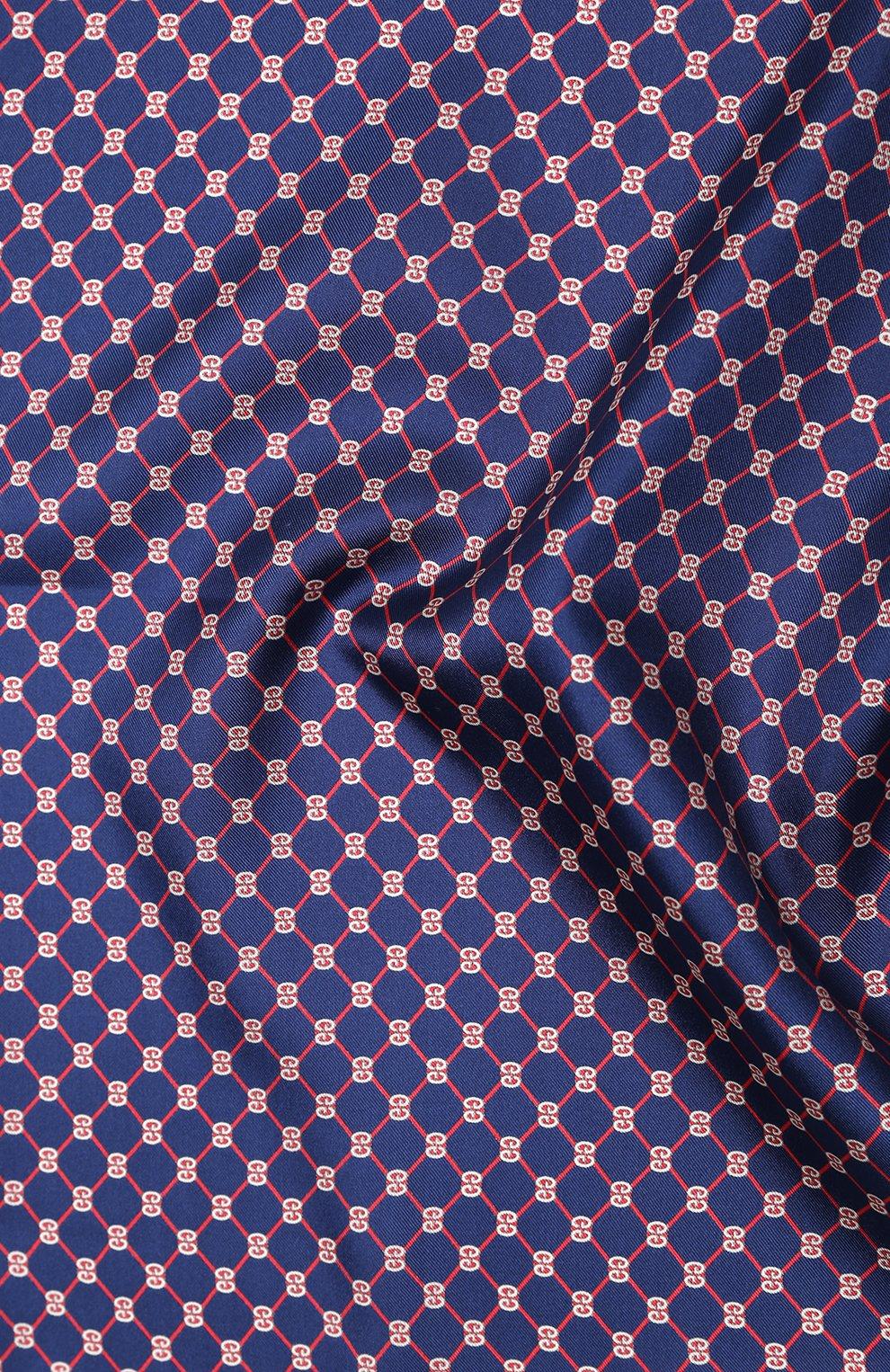 Мужской шелковый платок GUCCI синего цвета, арт. 630517/4G001   Фото 2