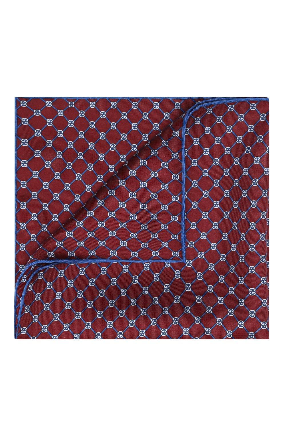 Мужской шелковый платок GUCCI бордового цвета, арт. 630517/4G001   Фото 1
