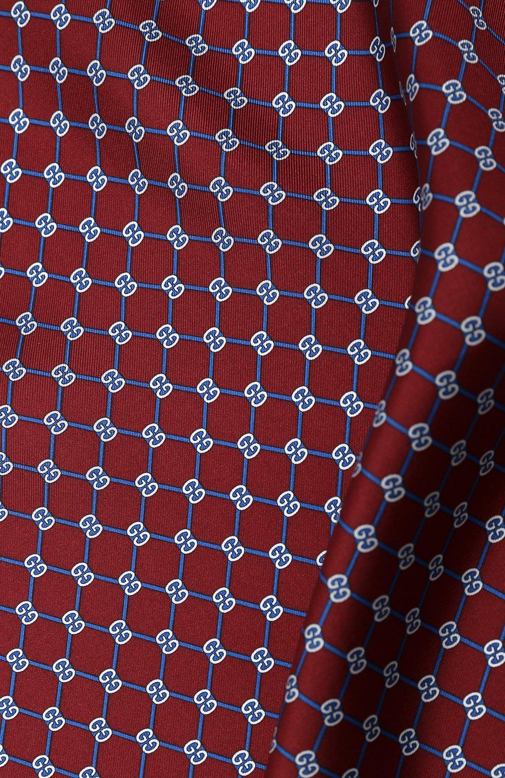 Мужской шелковый платок GUCCI бордового цвета, арт. 630517/4G001   Фото 2