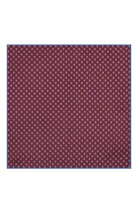 Мужской шелковый платок GUCCI бордового цвета, арт. 630517/4G001   Фото 3