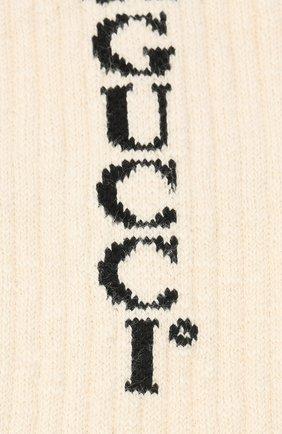 Мужские хлопковые носки GUCCI кремвого цвета, арт. 626289/4G157 | Фото 2