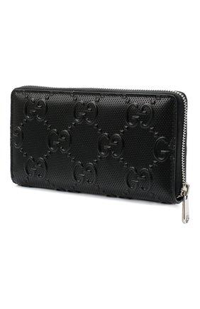 Мужской кожаное портмоне GUCCI черного цвета, арт. 625558/1W3AN | Фото 2