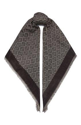 Мужской шарф из хлопка и шерсти GUCCI коричневого цвета, арт. 624504/4GA95 | Фото 1