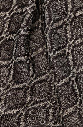 Мужской шарф из хлопка и шерсти GUCCI коричневого цвета, арт. 624504/4GA95 | Фото 2