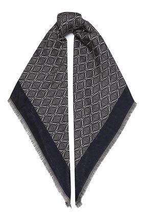 Мужской шарф из хлопка и шерсти GUCCI синего цвета, арт. 624504/4GA95 | Фото 1
