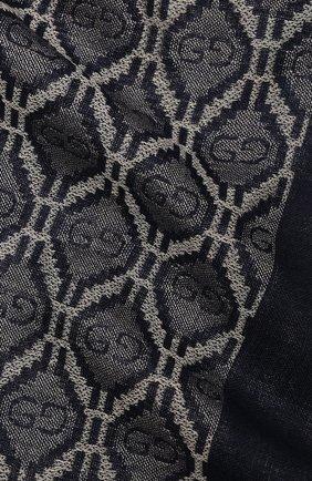Мужской шарф из хлопка и шерсти GUCCI синего цвета, арт. 624504/4GA95 | Фото 2