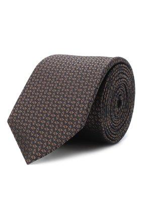 Мужской шелковый галстук BOSS темно-коричневого цвета, арт. 50441226 | Фото 1