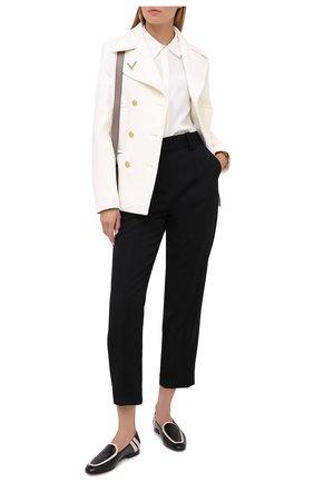 Женские кожаные лоферы GIORGIO ARMANI черно-белого цвета, арт. X1A082/XM554 | Фото 2