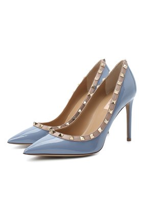 Женская кожаные туфли valentino garavani rockstud VALENTINO голубого цвета, арт. UW2S0057/VNW | Фото 1