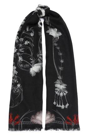 Женская шаль ALEXANDER MCQUEEN черного цвета, арт. 631328/3A34Q | Фото 1