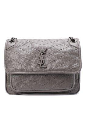 Женская сумка niki medium SAINT LAURENT серого цвета, арт. 498894/0EN04 | Фото 1 (Материал: Натуральная кожа; Сумки-технические: Сумки через плечо; Ремень/цепочка: На ремешке; Размер: medium)