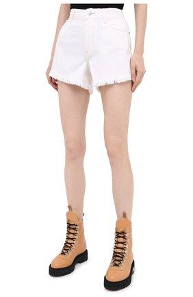 Женские джинсовые шорты PAIGE белого цвета, арт. 6462G35-2692 | Фото 3 (Женское Кросс-КТ: Шорты-одежда; Кросс-КТ: Деним; Длина Ж (юбки, платья, шорты): Мини; Материал внешний: Хлопок; Стили: Кэжуэл)