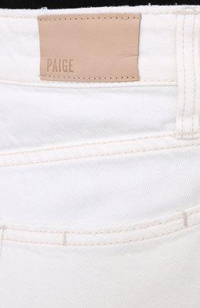 Женские джинсовые шорты PAIGE белого цвета, арт. 6462G35-2692 | Фото 5 (Женское Кросс-КТ: Шорты-одежда; Кросс-КТ: Деним; Длина Ж (юбки, платья, шорты): Мини; Материал внешний: Хлопок; Стили: Кэжуэл)