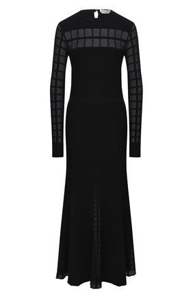Женское платье из вискозы ALEXANDER MCQUEEN черного цвета, арт. 633705/Q1AQQ   Фото 1 (Рукава: Длинные; Материал подклада: Шелк; Женское Кросс-КТ: Платье-одежда; Случай: Повседневный; Длина Ж (юбки, платья, шорты): Миди; Материал внешний: Вискоза)