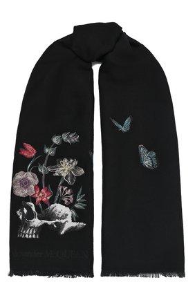 Мужские шерстяной шарф ALEXANDER MCQUEEN черного цвета, арт. 629854/3C69Q | Фото 1