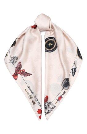 Женский шелковый платок ALEXANDER MCQUEEN светло-розового цвета, арт. 628901/3001Q | Фото 1