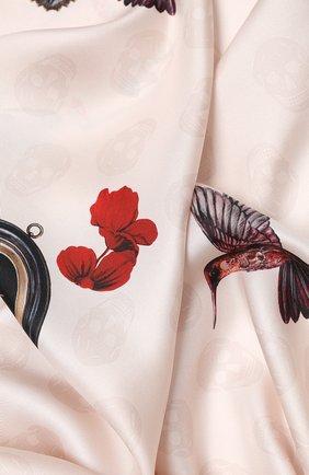 Женский шелковый платок ALEXANDER MCQUEEN светло-розового цвета, арт. 628901/3001Q | Фото 2