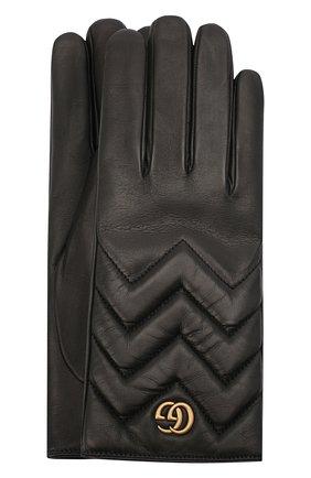 Женские кожаные перчатки GUCCI черного цвета, арт. 477965/BAP00 | Фото 1