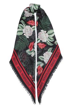 Женская шаль big hawaian GUCCI черного цвета, арт. 631433/3G856 | Фото 1