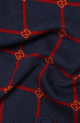 Мужские шерстяной шарф sonet GUCCI темно-синего цвета, арт. 630769/3G200 | Фото 2