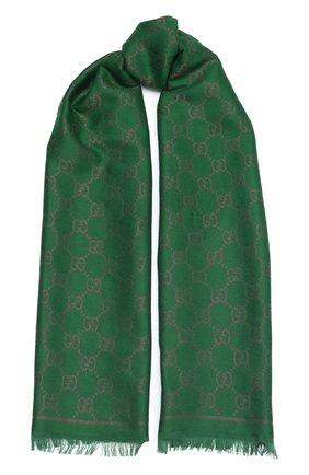 Женская шаль bright g GUCCI зеленого цвета, арт. 627872/3GF66 | Фото 1