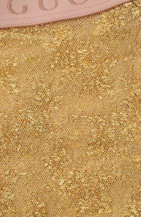 Женские носки GUCCI золотого цвета, арт. 615533/3GF25 | Фото 2