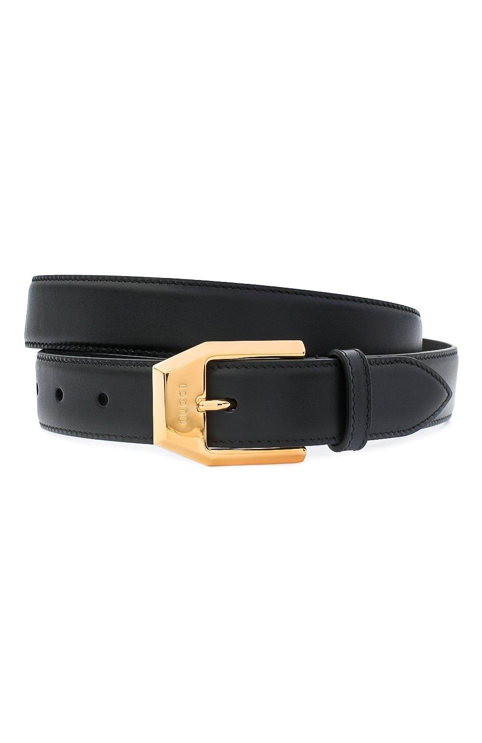 Мужской кожаный ремень GUCCI черного цвета, арт. 625473/BGH0G | Фото 1
