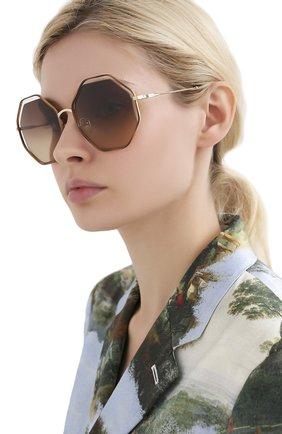 Женские солнцезащитные очки CHLOÉ светло-коричневого цвета, арт. 132S-213   Фото 2