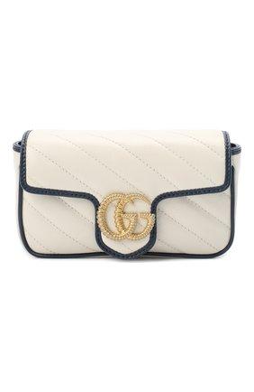 Женская сумка gg marmont super mini GUCCI белого цвета, арт. 574969/00LFX | Фото 1