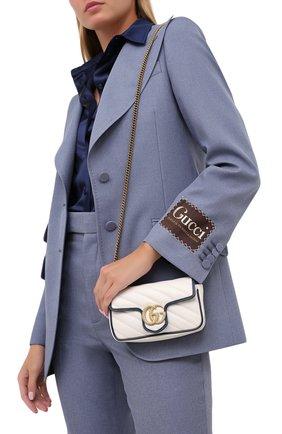 Женская сумка gg marmont super mini GUCCI белого цвета, арт. 574969/00LFX | Фото 2