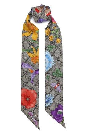 Женский шелковый шарф-бандо GUCCI разноцветного цвета, арт. 609317/3G001   Фото 1