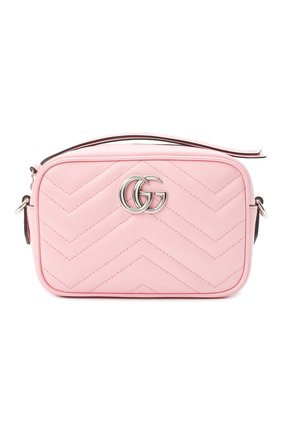 Женская сумка gg marmont 2.0 mini GUCCI светло-розового цвета, арт. 634936/DTD1P   Фото 1 (Размер: mini; Ремень/цепочка: На ремешке; Материал: Натуральная кожа; Сумки-технические: Сумки через плечо)