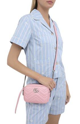 Женская сумка gg marmont 2.0 mini GUCCI светло-розового цвета, арт. 634936/DTD1P   Фото 2 (Размер: mini; Ремень/цепочка: На ремешке; Материал: Натуральная кожа; Сумки-технические: Сумки через плечо)