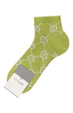 Женские хлопковые носки GUCCI зеленого цвета, арт. 631451/3GF79 | Фото 1