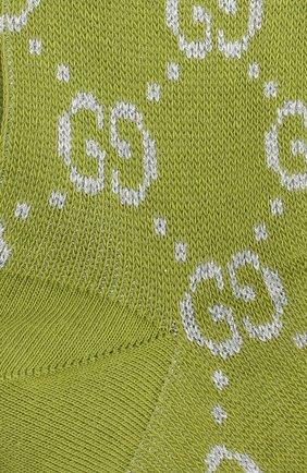 Женские хлопковые носки GUCCI зеленого цвета, арт. 631451/3GF79 | Фото 2