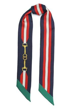 Мужские шелковый шарф-бандо GUCCI темно-синего цвета, арт. 627810/3G001 | Фото 1