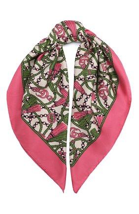 Женский шелковый платок GUCCI розового цвета, арт. 626788/3G001 | Фото 1